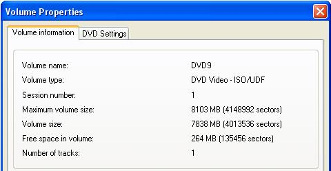 Volume Properties DVD 9